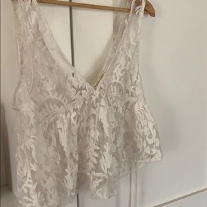 Saltwater Luxe Stay Golden Lace Top- size small